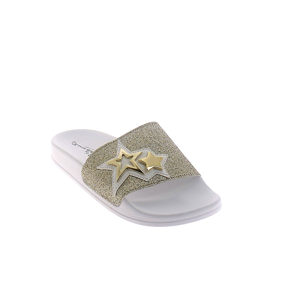 SUMMER MULE IN GOLD-WHITE COLOUR WITH GLITTERY BAND UPPER AND METAL STARS APPLICATION