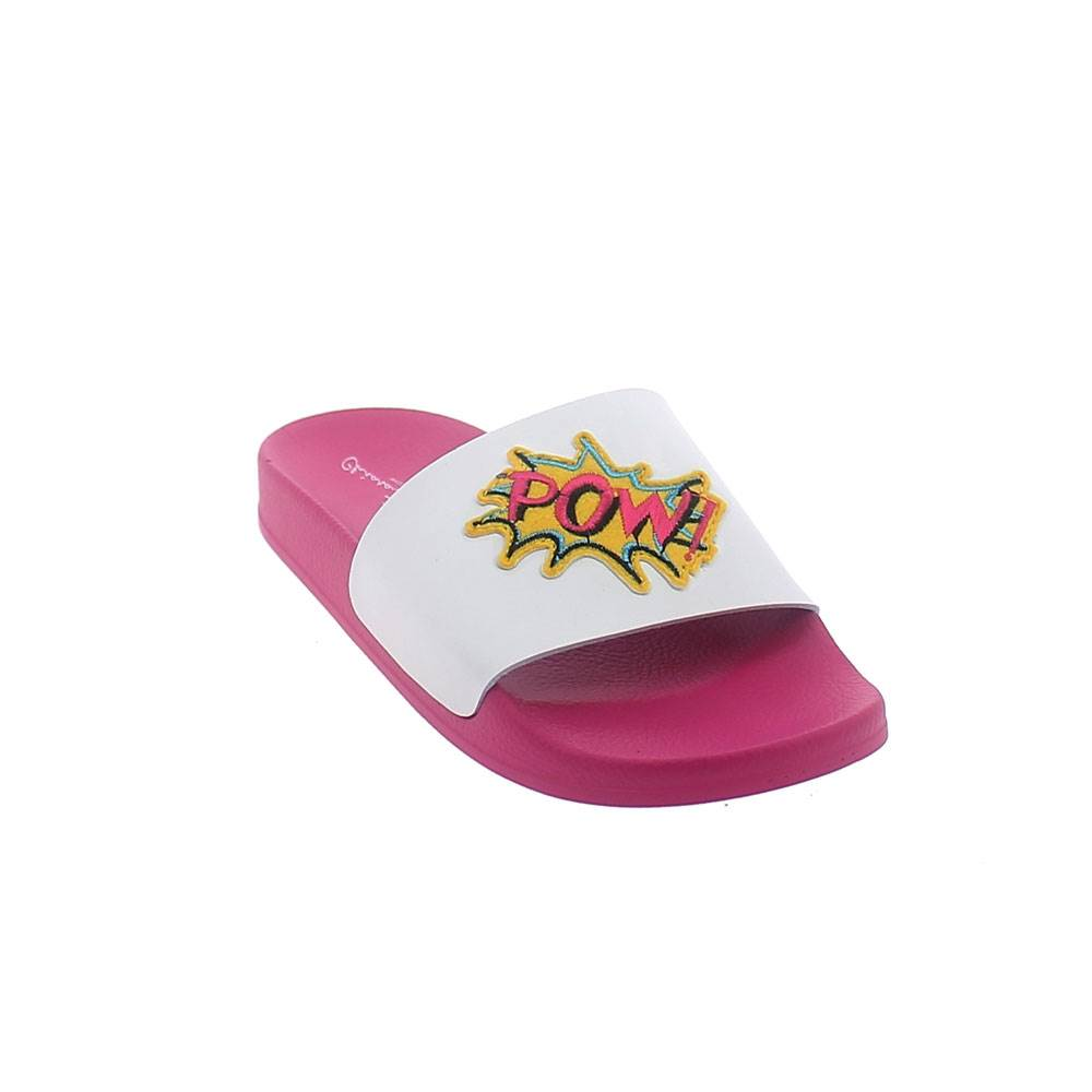 "SUMMER MULE IN WHITE-FUXIA COLOUR WITH LEATHERETTE BAND UPPER AND ""POW"" PATCH"