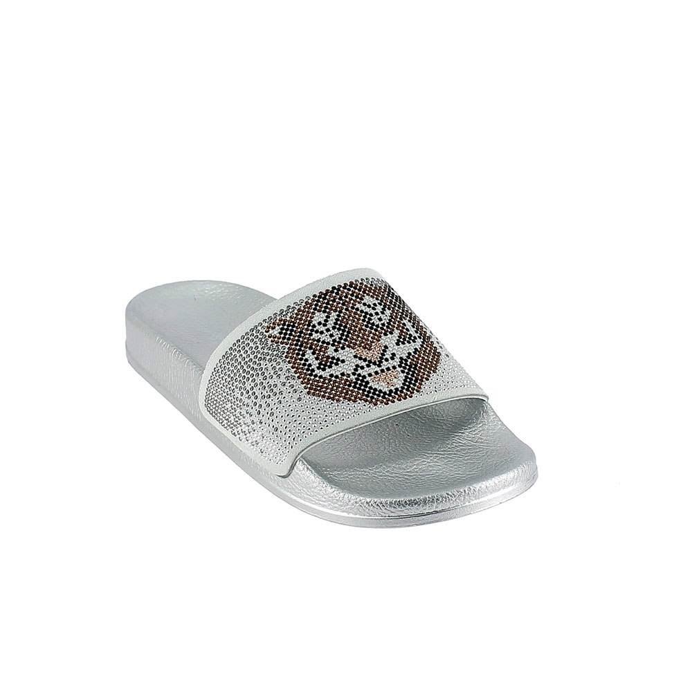 "LEATHER MULE WITH ""TIGER"" RHINESTONES. SILVER"