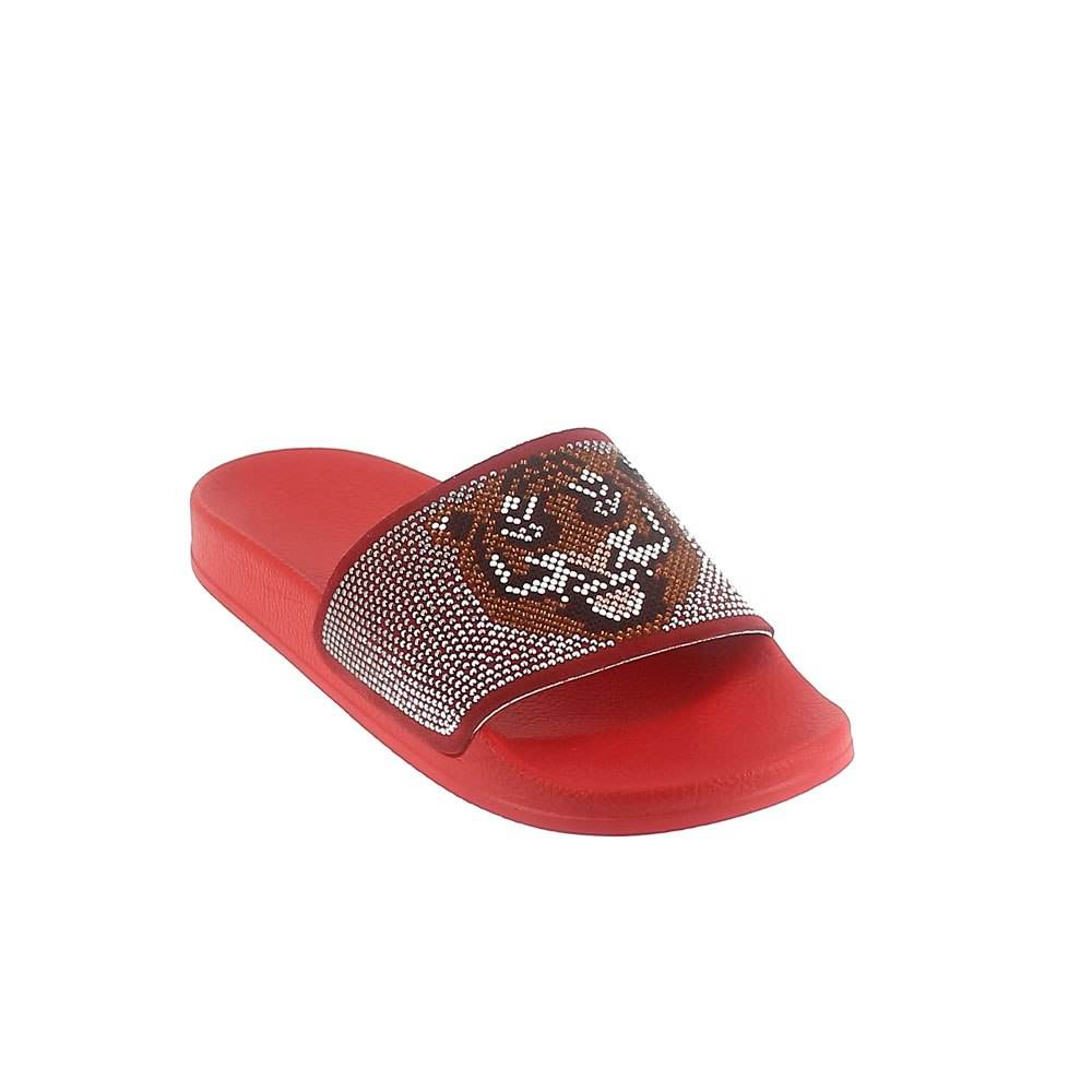 "LEATHER MULE WITH ""TIGER"" RHINESTONES. RED"