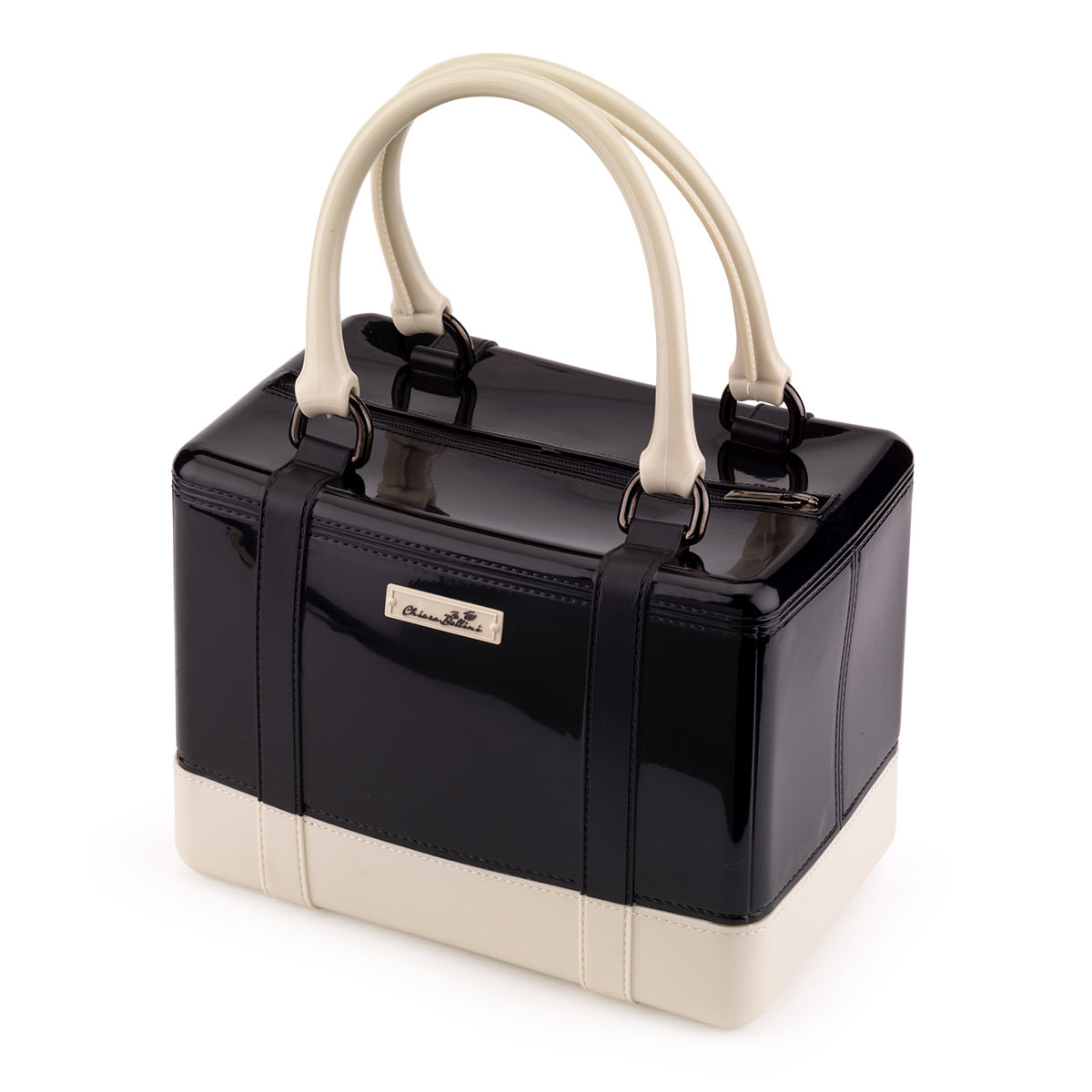 Satchel handbag in solid coloured bright PVC