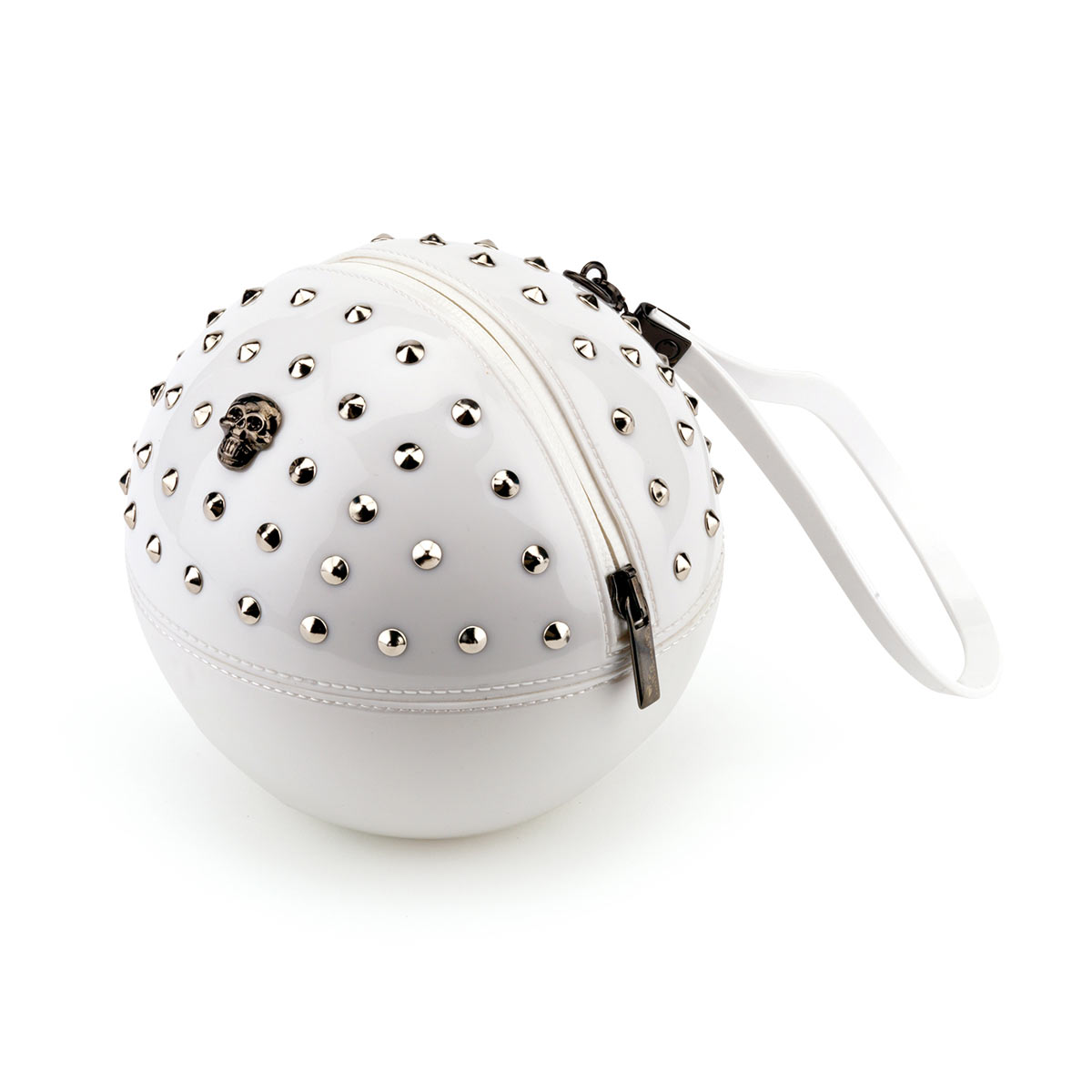 """Rock'n'Ball"" sphere handbag, studded in solid colour bright PVC"