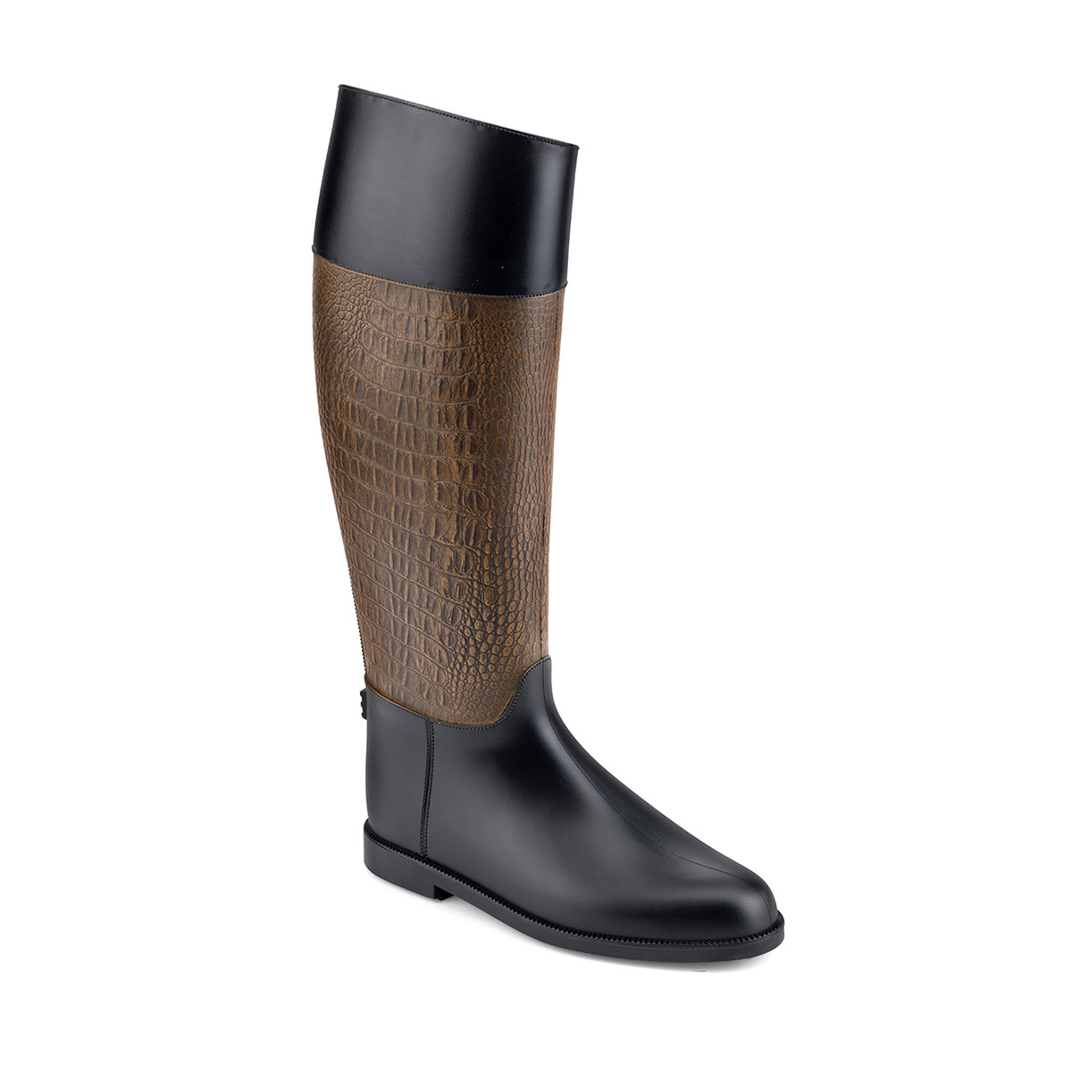 Pvc Riding Boot with a crocodile printing