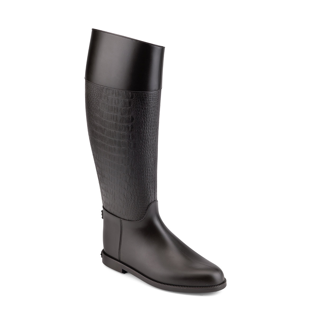 Riding boot with crocodile printing