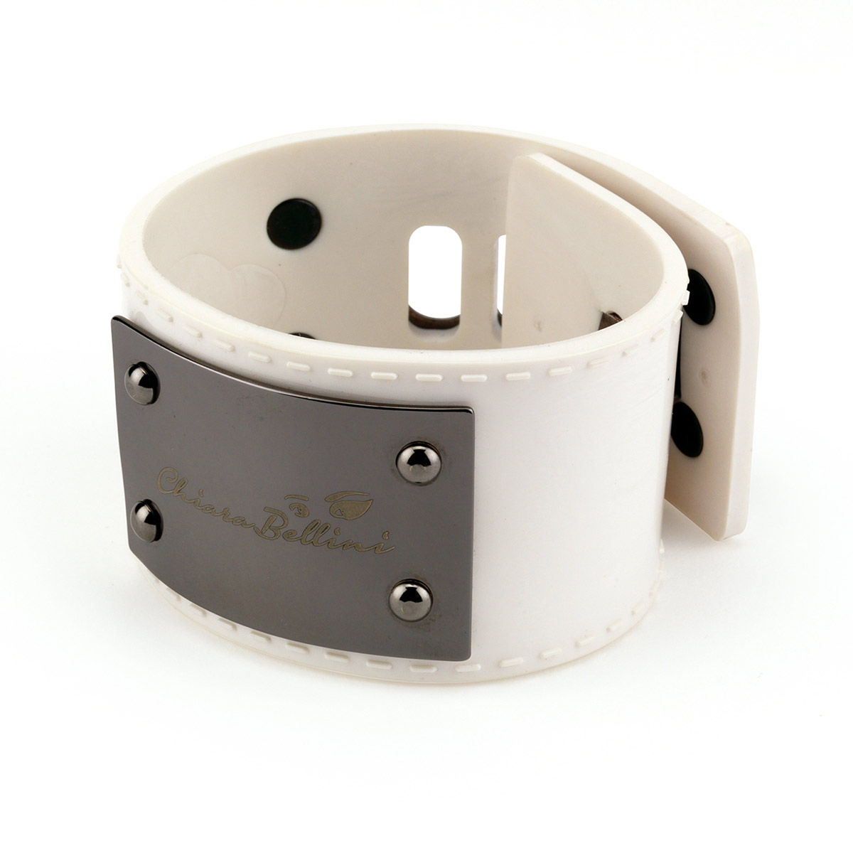 Bracelet in White Pvc with metal plate
