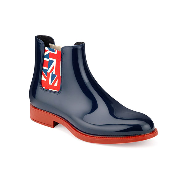 CHELSEA RAIN BOOT WITH RED COLOUR SOLE AND ELASTIC