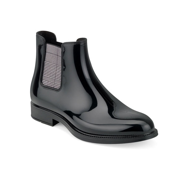 BLACK PVC CHELSEA RAIN BOOT WITH PRINTED ELASTIC