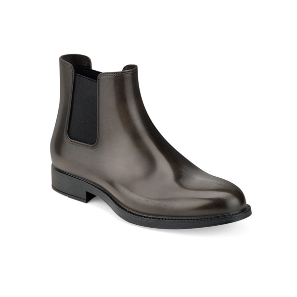 CHELSEA RAIN BOOT WITH BRUSHED MATT EFFECT. DARK BROWN