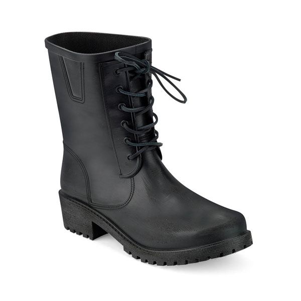 BIKER BOOT IN BRUSHED FINISH MATT PVC WITH LACES