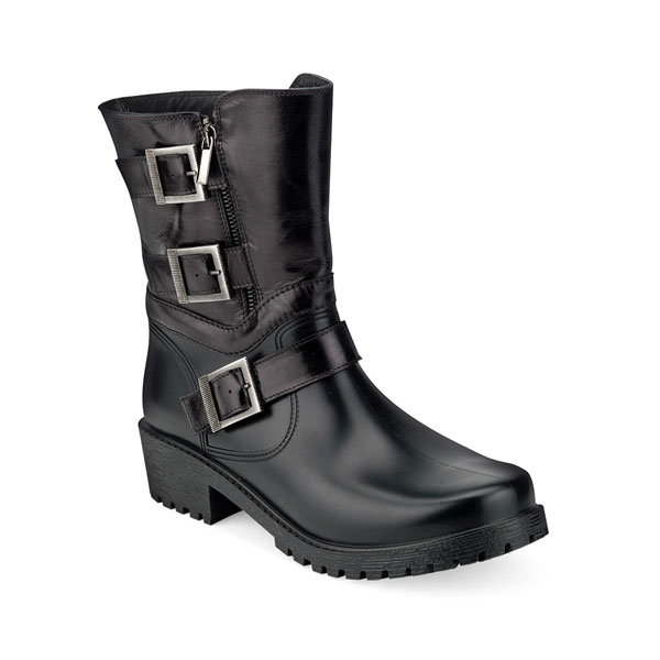 BIKER BOOT WITH STRAPS AND BLACK LEATHER LEG