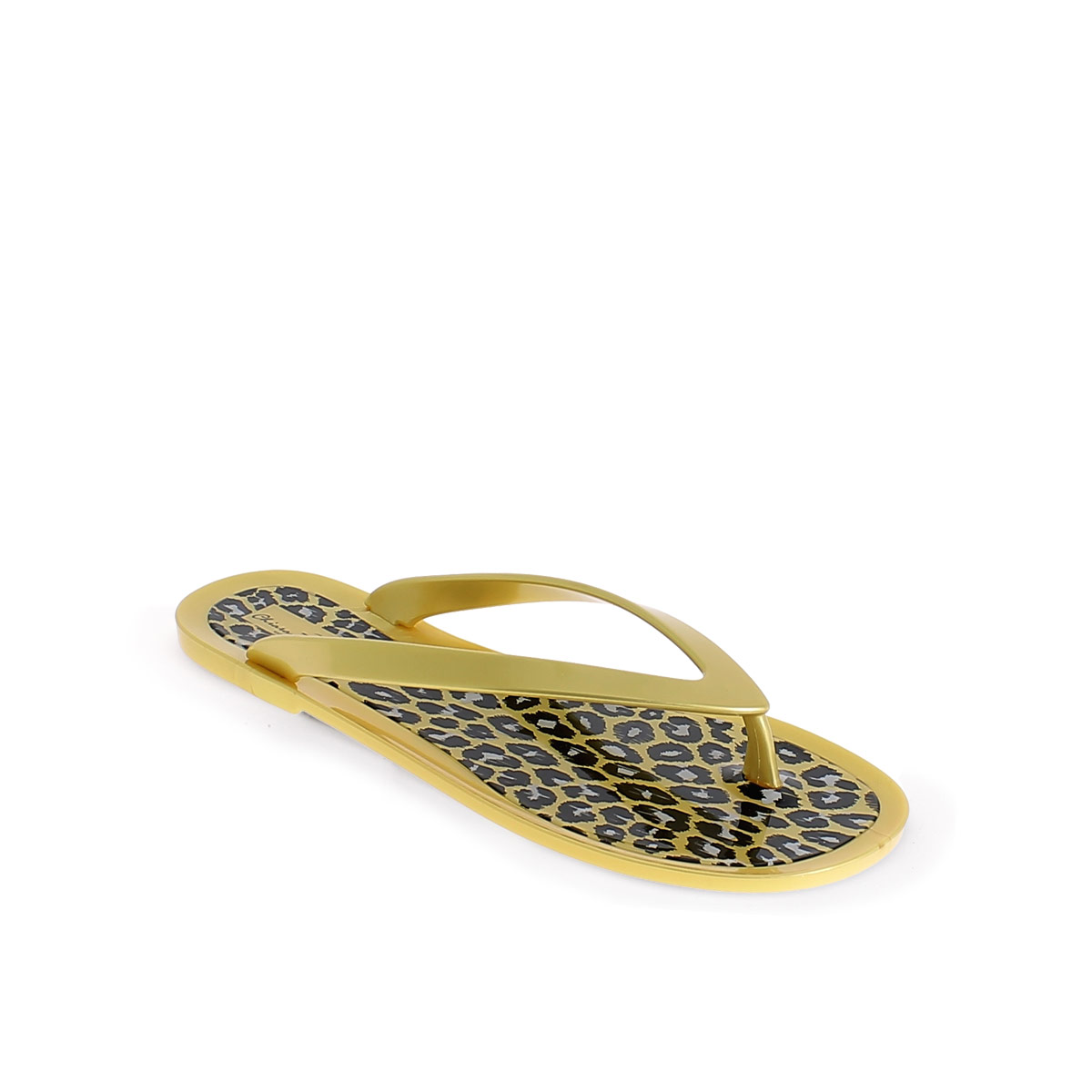 GOLD PVC THONG SLIPPER WITH LEOPARD PRINTING INSOLE