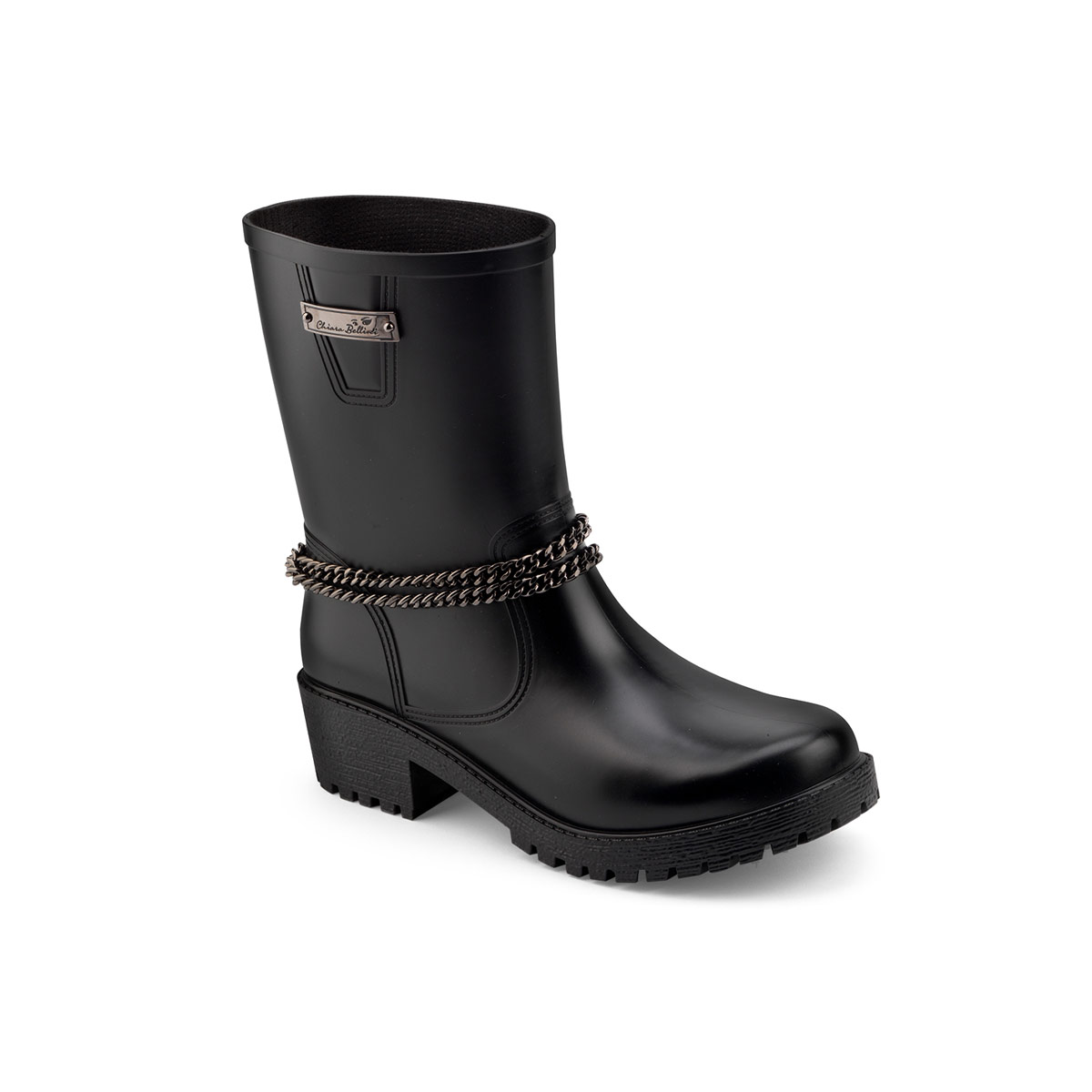 Biker boot with a double ankle chain