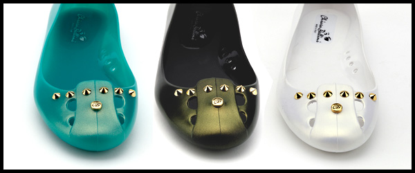 Pvc ballerina flat with iridescent gold effect now on Shop Online