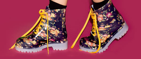 New Floral fantasy Pvc short laced up boot