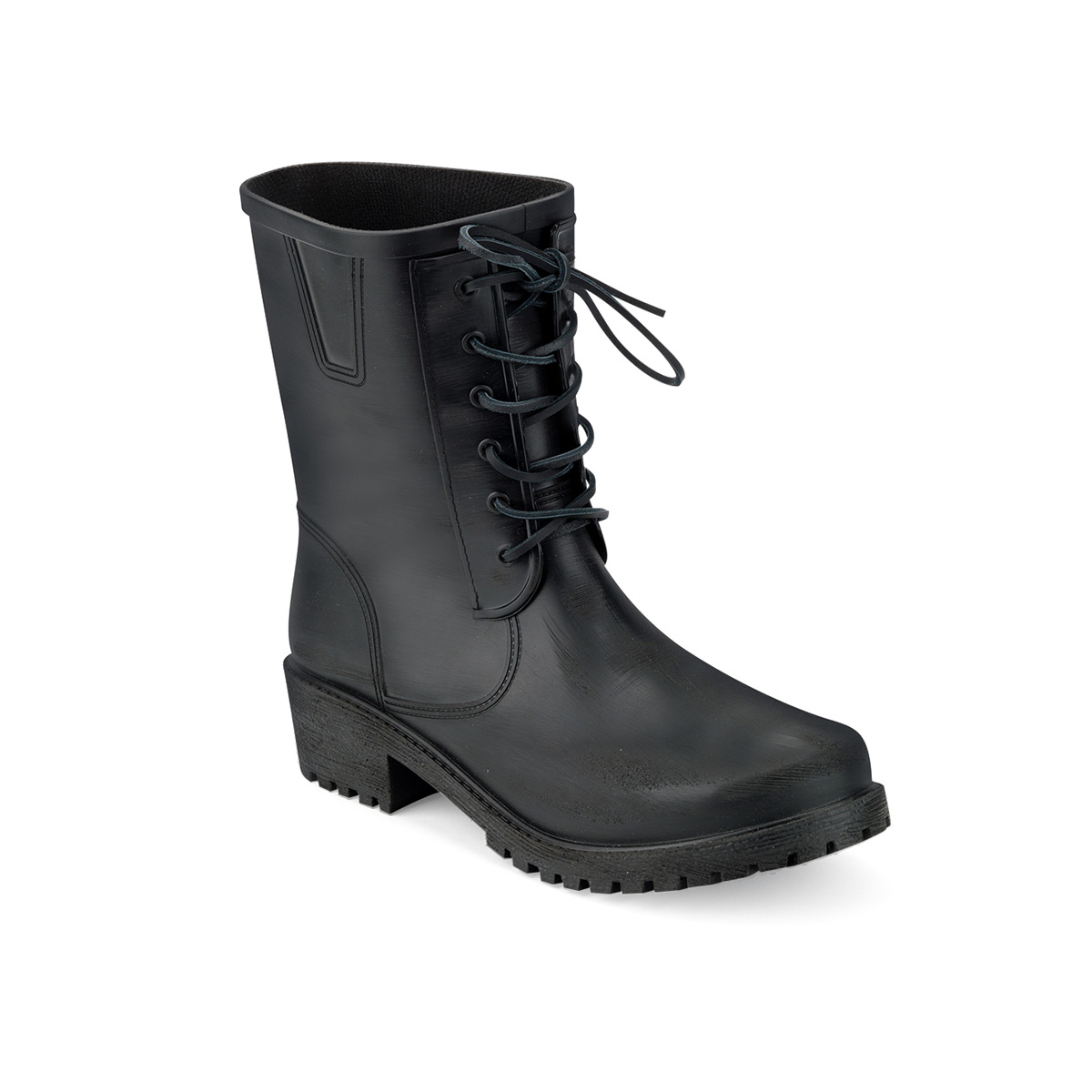 Brushed pvc biker boot with laces