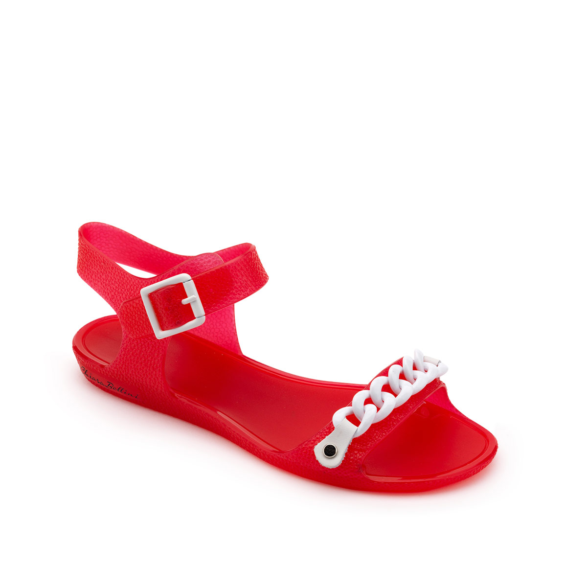 Sandal in PVC with two-tone chain