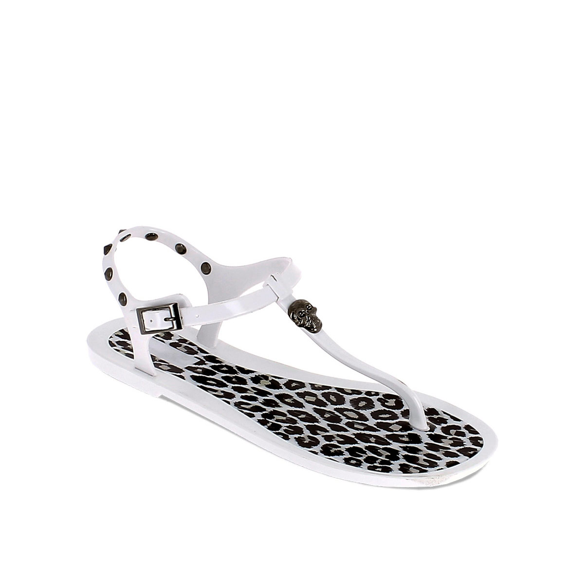 Thong sandal in PVC with leopard-skin insole and studs