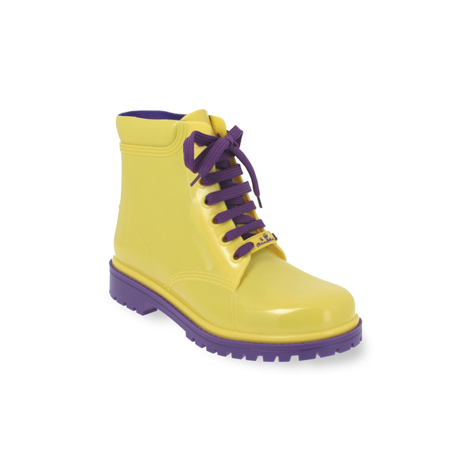 Short laced up boot in dual colour PVC.