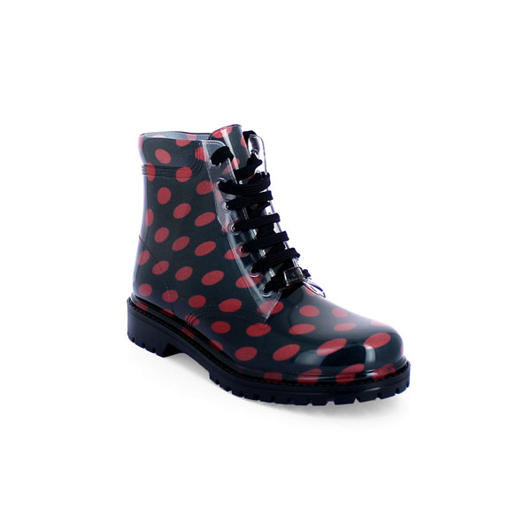 SHORT LACED UP BOOT RED POLKA DOT