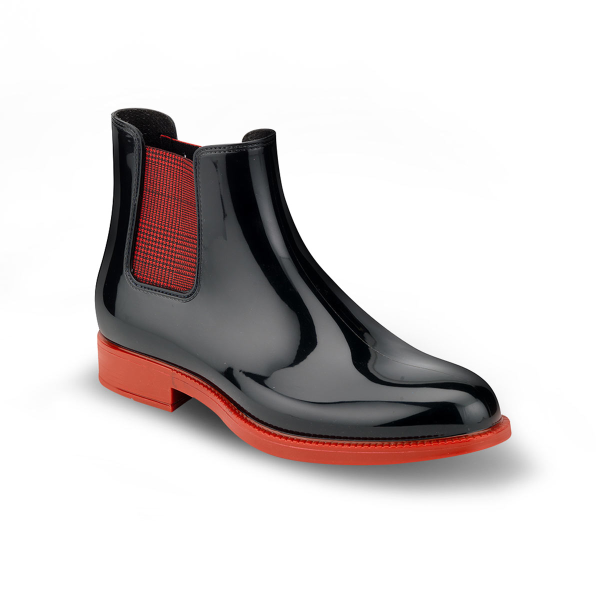 CHELSEA RAIN BOOT WITH RED SOLE AND ELASTIC