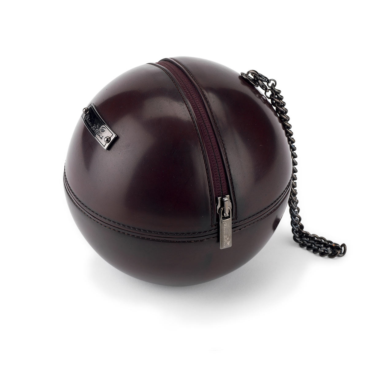 """Rock'n'Ball"" sphere handbag, in vintage finished PVC"